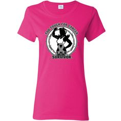 Brain Cancer Too Tough For Cancer...I'm a Survivor slogan on Women's T-Shirt featuring a female silhouette posing with strength and an awareness ribbon for activism