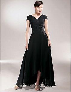 Sheath/ Column V-neck Asymmetrical Chiffon Mother of the Bride Dress - USD $ 87.99