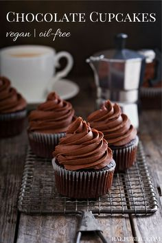 CHOCOLATE Vegan Cupcakes that are super easy to make, paired with chocolate fudge frosting!