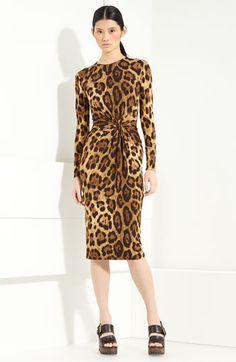 Michael Kors Twist Front Leopard Print Dress