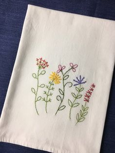 Kitchen Hand Embroidered T-towel set 7 Say What