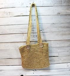 Vintage Straw Handbag / Straw Brown Leather / by TheVintageEurope