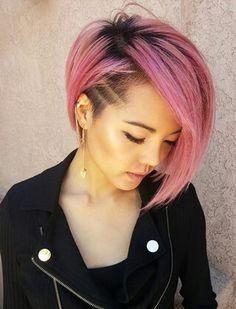 bob różowe włosy