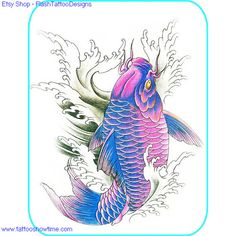 Koi Tattoo Flash Design 8 for you on Etsy. Top quality high resolution color design, with tattoo stencil outline. Instant download only $1.95. Get the body art you deserve. Many other designs.