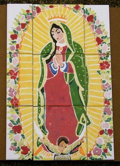 Tiles Our Lady of Guadeloupe Garden Art by chinmayo on Etsy, $300.00