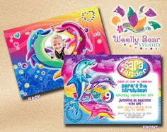 Available by Email only. Contact me at jessica@woollybearstudio.com  Printable Lisa Frank Dolphin Birthday Invitation with Photo