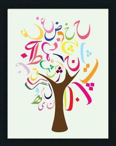 Persian Alphabet Tree Poster - Chicka Chicka Boom Boom Inspired Tree