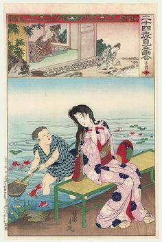 Jiang Shi: A Miraculous Spring by Chikanobu (1838 - 1912. Original Chikanobu (1838 - 1912) Japanese Woodblock Print