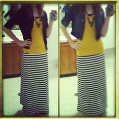 Black and white maxi skirt I made from this website. Added elastic to the waist. It turned out so well!! Here's the website I got it from.  http://weallsew.com/2012/04/12/maxi-skirt-by-stacy-schlyer/