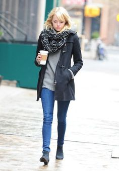Emma Stone attempts to keep a low profile while out and about in snowy New York City, New York on February 5, 2013.