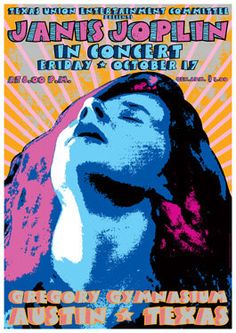 JANIS JOPLIN 17 October 1969 Austin   retro artistic by tarlotoys, €10.00