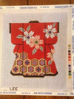 3 Pink Peony Flowers on Blue Border Design handpaint 13m Needlepoint Canvas LEE