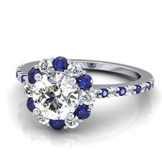 Blue and White Sapphire Engagement Ring in 14k by GerryTheJeweler, $1250.00