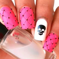 """""""Pink hot skull nails by @_lifeisnails_  1.) Apply 2-3 coats of pink to create a little thick layer then let it dry for 1 min then apply matte top…"""""""