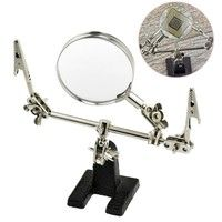 Wish | Helping Hand 5x Magnifier Jewelry Hobby Beading Watch Repair Soldering (Color: Black & Silver)