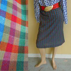plaid pencil skirt . vintage 1960s . fall colors cotton . 30 inch waist - buy it at www.nesteggvintage.etsy.com