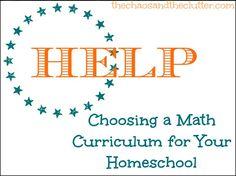 Help Choosing a Math Curriculum for Your Homeschool ~ Lengthy list of Math Curriculum Sources....