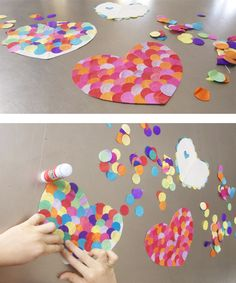 Make hearts with giant confetti for Valentine's Day