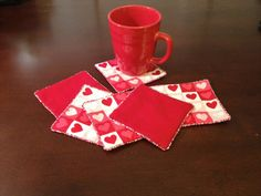 Heart Design Fabric Coasters with Red and Pink by LasmasCreations, $18.00