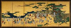 One Hundred Boys  Kano Einô  (Japanese, 1631–1697)    Period:      Edo period (1615–1868)  Date:      17th century  Culture:      Japan  Medium:      Pair of six-panel folding screens; ink, color, and gold on paper  Dimensions:      Image (each screen): 44 7/8 x 111 in. (114 x 282 cm)  Classification:      Screen  Credit Line:      Purchase, Lila Acheson Wallace Gift, Mary and James G. Wallach Foundation Gift, Gift of Dr. Mortimer D. Sackler, Theresa Sackler and Family, and Dodge Fund, 2009…