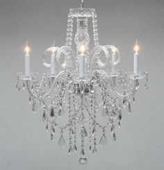 """Amazon.com: Authentic All Crystal Chandelier Chandeliers H30"""" X W24"""": Home Improvement"""