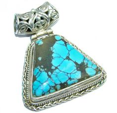 Huge Native American Blue Turquoise Sterling Silver Pendant