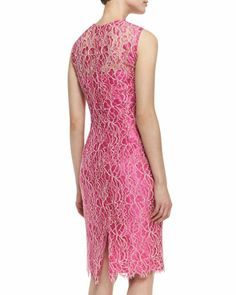 Kalinka Sleeveless Floral Lace Overlay Cocktail Dress, Hot Pink/Ivory - Bergdorf Goodman