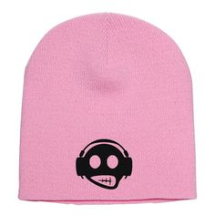 Headphone Embroidered Knit Beanie