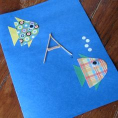 Fathers Day  Card: Letter D-fish- made out of paper. The A is made out of toothpicks and string to resemble a fishing pole.