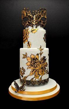 Cake Wrecks - Home - Sunday Sweets: Masquerade! Amazing Wedding Cakes, Elegant Wedding Cakes, Amazing Cakes, Floral Wedding, Unique Cakes, Creative Cakes, Pretty Cakes, Beautiful Cakes, Masquerade Cakes