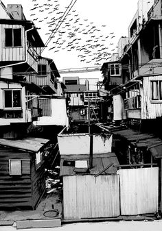 Tumblr City Drawing, Manga Drawing, Manga Art, Watercolor Paintings Nature, Animation Storyboard, Building Sketch, Background Drawing, Black And White Background, Gothic Anime