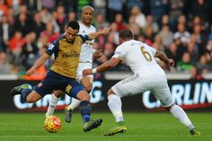 Francis Coquelin of Arsenal shoots at goal during the Barclays Premier League match between Swansea City and Arsenal at Liberty Stadium on October 31, 2015 in Swansea, Wales. (Oct. 30, 2015 - Source: Tony Marshall/Getty Images Europe)