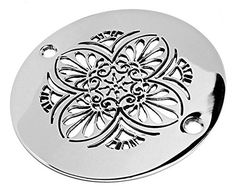 Designer Drains Polished Chrome Elements Greek Anthemion Round Decorative  Shower Drain Cover Grate