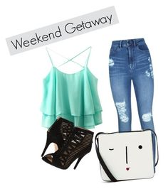 """weekend getaway"" by madeline-de-leon ❤ liked on Polyvore featuring Lipsy, Lulu Guinness and Nine West"