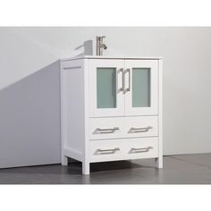 """PRODUCT DESCRIPTION: This modern 24 in. single sink bathroom vanity set with ceramic vanity top is a perfect combination of elegance and value. The soft-closing doors and drawers add another touch of class. The vanity set includes the vanity, sink, top, mirror and cabinet hardware. 24-Inch Single-Sink Bathroom Vanity Set With Ceramic Vanity Top. 24""""W x 18""""D x 36""""H 24"""" Wide Vanity Top - White Ceramic Soft Closing Doors & Drawers. Includes Sink, Mirror and Drain. Faucet not Included. Full manu 24 Vanity, White Vanity Bathroom, Vanity Set With Mirror, Single Sink Bathroom Vanity, Vanity Cabinet, Vanity Sink, Bathroom Sets, Cabinet Hardware, Wood Sink"""