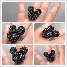 Mickey Mouse Inspired Black Crystal Encrusted by littlepennylane, $45.00