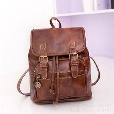 2016 New Women Fashion Designer Brown Backpacks Vintage Leather Shoulder Bags Retro Small Lady School Bags Mochila Cute Bags