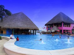 Costa Maya, Mexico and the Carnival Cruise Ship swim up pool bar. Water comes in from the ocean