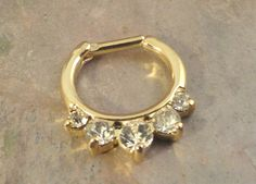 16 Gauge Gold Daith Hoop Clicker Bull Ring Nose by MidnightsMojo