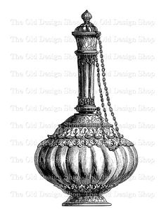 Covered Vase with Chain Printable Vintage Clip by TheOldDesignShop