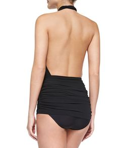 c38946b368478 NMF15_T8Z3H Halter One Piece Swimsuit, Black Swimsuit, Monokini Swimsuits,  Swimwear, Norma Kamali