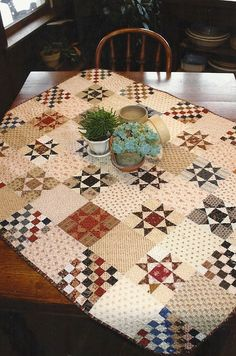 Primitive Folk Art Quilt Pattern: OHIO STAR CROSSING. $8.50, via Etsy. Measures 42 inches x 54 inches when complete.