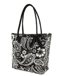 Amazon.com: Belvah Medium Quilted Flower & Paisley Tote Handbag (Black/White): Clothing