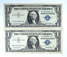 1 1957 $1.00 Silver Certificate Blue Seal and One of 90/% Silver Troy Oz