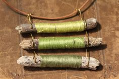 Beachy Driftwood and Cotton Pendant on a by HammeredandFired