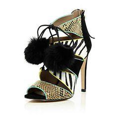 Black leather caged pom pom heeled sandals $150  @ RiverIsland AWESOME SHOESSSSSSSSSS