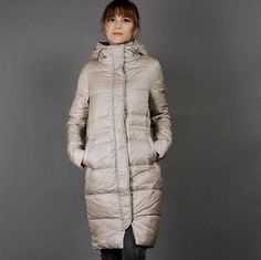 Hooded Down Coat Long Thick Down Coat Side Pockets Long Warm Down Jacket Women Down Coat