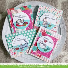 Christy Gets Crafty: 1 Set 4 Ways: Episode 3 - Lawn Fawnatics Challenge Lawn Fawn Stamps, Window Cards, Scrapbooking, Cat Cards, Cat Lover Gifts, Cat Lovers, Get Well Cards, Watercolor Cards, Pattern Paper
