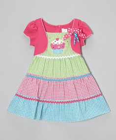 Look what I found on #zulily! Fuchsia & Green Gingham Cupcake Dress - Infant & Toddler #zulilyfinds