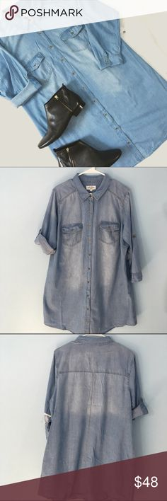 """Plus Size Denim Shirtdress Light Wash The shirt dress is a MUST-HAVE for every season! Belts, jackets, tights or leggings - it's an easy piece to make your own! This has a slight shirttail hem, full button front and sleeves that convert from 3/4 to half with a button and tab. 1X: Bust 24"""", Waist: 23"""", Length 37"""". 2X: Bust 25"""", Waist 24"""", Length 38"""". 3X: Bust 26"""", Waist 25"""", Length 39"""". ALSO LISTED IN DARK WASH. ChicBirdie Dresses"""